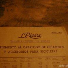 Catálogos publicitarios - Catalogo de recambios de Bicicleta, tarifa precios, año 1953, LRICART - 60382375