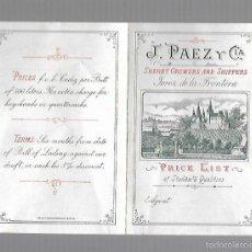 Catálogos publicitarios: CATALOGO PUBLICITARIO. VINOS. LISTA DE PRECIOS. J.PAEZ Y CIA. 1885. VER FOTOS. Lote 60492087