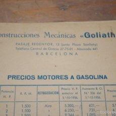 Catálogos publicitarios: CATALOGO Y PRECIOS DE MOTORES GOLIATH, 1957. Lote 60532583