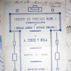 Catálogos publicitários: TARIFA PRECIOS Nº 1 CATALOGO , ANTIGUO HEBILLAS CADENAS A FERRE Y MOLLÁ 1922 BARCELONA . Lote 47386414