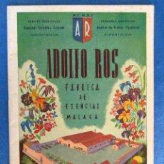 Catálogos publicitarios: ADOLFO ROS. FÁBRICA DE ESENCIAS, MÁLAGA, LISTA DE PRECIOS, 1949.. Lote 61490687