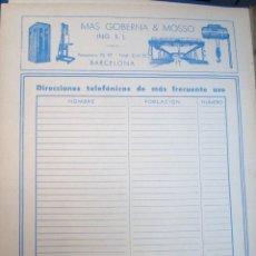 Catálogos publicitarios: LÁMINA COLECCIÓN PUBLICIDAD RECLAMO MAS GOBERNA Y MOSSO ING. BARCELONA ANÍS DEL MONO 1955 . Lote 61763992