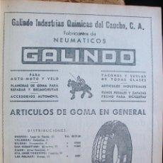 Catálogos publicitarios: LÁMINA COLECCIÓN PUBLICIDAD RECLAMO GALINDO INDUSTRIAS QUÍMICAS CAUCHO NEUMÁTICOS BARCELONA 1955. Lote 61765184