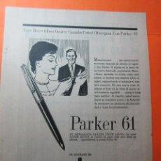 Catálogos publicitarios: PUBLICIDAD 1961 - COLECCION PLUMAS Y BOLIS - PARKER 61. Lote 62295772