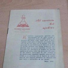 Catálogos publicitarios: CATALOGO DE PUBLICACIONES DE AJEDREZ, ED. RICARDO AGUILERA, AÑO 1949, MIDE 17 X 12 CMS.. Lote 63639519