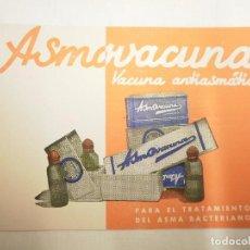 Catálogos publicitarios: TARJETA PUBLICITARIA MEDICINA. ASMAVACUNA. LABORATORIOS ABELLÓ. Lote 63942943