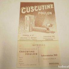 Catálogos publicitarios: TARJETA PUBLICITARIA MEDICINA. CUSCUTINE.LABORATORIOS G. BEYTOUT. Lote 63944483