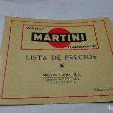 Catálogos publicitarios: CATALOGO DE LISTA DE PRECIOS VERMUT MARTINI 1957. Lote 66227146