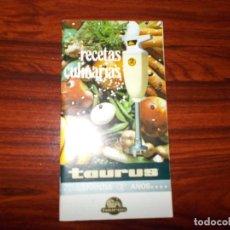 Catálogos publicitarios: RECETAS CULINARIAS TAURUS. Lote 66296430