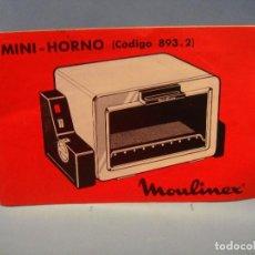 Catálogos publicitarios: ANTIGUO LIBRO INSTRUCCIONES MINI HORNO MOULINEX. MANUAL DE INSTRUCCIONES. PEQUEÑO ELECTRODOMÉSTICO. Lote 66983190
