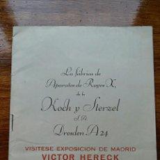 Catálogos publicitarios: FRABRICA DE APARATOS DE RAYOS X DE LA KOCH Y STERZEL. EXPOSICION DE MADRID VICTOR HERECK, AÑOS 50. Lote 68291401