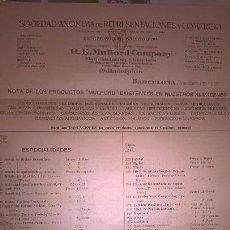 Catálogos publicitarios: LISTADO DE PRECIOS DE PRODUCTOS DE FARMACIA Y QUÍMICA. MULFORD. 1920. Lote 195236361