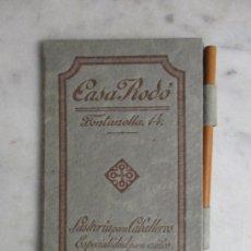 Catálogos publicitarios: PUBLICIDAD - LIBRETA CON LÁPIZ - CASA RODÓ - SASTRERÍA PARA CABALLEROS Y NIÑOS - PRINCIPIOS S. XX. Lote 72882263