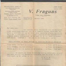 Catálogos publicitarios: TRIPAS PARA EMBUTIDOS - V.FRAGUAS - BARCELONA - HOJA. Lote 76562835