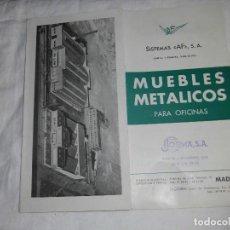 Catálogos publicitarios: MUEBLES METALICOS PARA OFICINA.SISTEMAS AF MADRID.FOLLETO DESPLEGABLE CON FOTO FABRICA AL FINAL . Lote 77857509