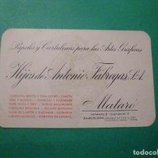 Catálogos publicitarios: PAPELES Y CARTULINAS PARA ARTES GRAFICAS HIJOS DE ANTONIO FÁBREGAS S.A. MATARÓ. Lote 78447225