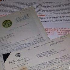 Werbekataloge - Publicidad desplegable y 2 cartas PAPELERIA AMERICAN, Madrid 1948. ADREMA. Organizacion oficina - 78662078