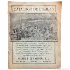 Catálogos publicitarios: CATÁLOGO DE BOMBAS PARA RIEGOS ARCADIO D. DE CORCUERA. BILBAO AÑOS 30 - 40. Lote 80224321
