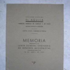 Catálogos publicitarios: MEMORIA 1951DE LA FÁBRICA DE CERVEZA ÁGUILA DE MADRID, VALENCIA , CORDOBA. Lote 80514241
