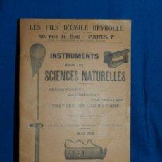 Catálogos publicitarios: CATALOGO PUBLICITARIO - LES FILS D'EMILE DEYROLLE , INSTRUMENTS POUR LES SCIENCIES NATURELLES 1931. Lote 80857687