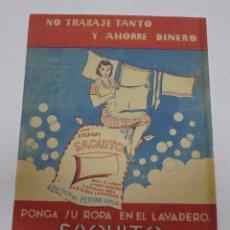 Catálogos publicitarios: ANTIGUO FOLLETO PUBLICITARIO. ESCAMAS SAQUITO. PUBLICIDAD DORSO. VER. 15 X 21CM. Lote 80929736