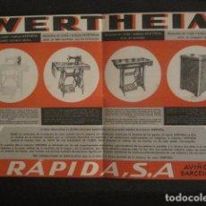 Catálogos publicitarios: DESPLEGABLE MAQUINAS COSER WERTHEIM - RAPIDA S.A.-BARCELONA 1944- PUBLICIDAD -VER FOTOS-(V- 10.199). Lote 81642924