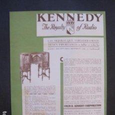 Catálogos publicitarios: CATALOGO RADIO - KENNEDY - BARCELONA- PUBLICIDAD UNA SOLA HOJA -VER FOTOS-(V-10.434). Lote 82491644
