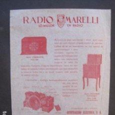 Catálogos publicitarios: CATALOGO RADIO - MARELLI - BARCELONA- PUBLICIDAD UNA SOLA HOJA -VER FOTOS-(V-10.435). Lote 82491768