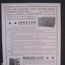 Catálogos publicitarios: CATALOGO RADIO - INGELEN - BARCELONA- PUBLICIDAD UNA SOLA HOJA -VER FOTOS-(V-10.436). Lote 82491872