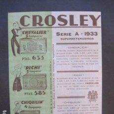 Catálogos publicitarios: CATALOGO RADIO - CROSLEY - PUBLICIDAD UNA SOLA HOJA -VER FOTOS-(V-10.441). Lote 82492428
