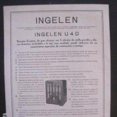 Catálogos publicitarios: CATALOGO RADIO -INGELEN - PUBLICIDAD UNA SOLA HOJA -VER FOTOS-(V-10.443). Lote 82492708