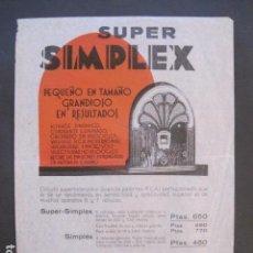 Catálogos publicitarios: CATALOGO RADIO -SUPER SIMPLEX - PUBLICIDAD UNA SOLA HOJA -VER FOTOS-(V-10.444). Lote 82492832
