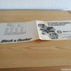 Catálogos publicitarios: CATÁLOGO INSTRUCCIONES DE TALADRO BLACK & DECKER. AÑOS 70-80. Lote 83893720