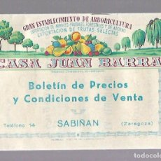 Catálogos publicitarios: BOLETIN DE PRECIOS Y CONDICIONES DE VENTA. FRUTAS CASA JUAN BARRA. SABIÑAN, ZARAGOZA. 1953 - 1954. Lote 84156412