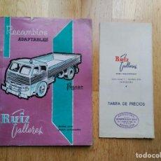 Catálogos publicitarios: CATALOGO Y TARIFA DE PRECIOS RECAMBIOS ADAPTABLES PEGASO DE RUIZ TALLERES.. Lote 85712660