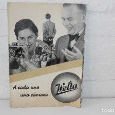 Catálogos publicitarios: CATÁLOGO DE DISEÑO PUBLICITARIO CON DESPLEGABLES CÁMARAS WELTA. CON PEDIDO DEL EJERCITO. CIRCA 1920. Lote 85732488