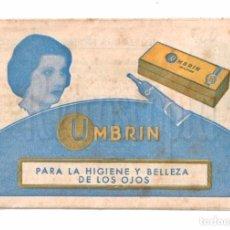 Catálogos publicitarios: CATALOGO DESPLEGABLE PUBLICIDAD DE CREMA UMBRIN BELLEZA PARA LOS OJOS. AÑOS 30 - 40. Lote 114211211