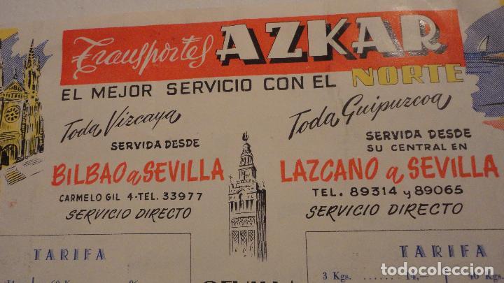 Antigua Publicidad Agencia Corral Transportes Azkar Camion Bilbao Sevilla Madrid Valencia Anos 50 60