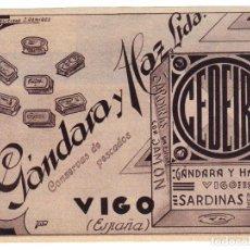 Catálogos publicitarios: ANTIGUO ANUNCIO PUBLICITARIO - ANUNCIO PUBLICIDAD - CONSERVAS DE PESCADOS GÁNDARA Y HAZ LTDA.- VIGO. Lote 88360616