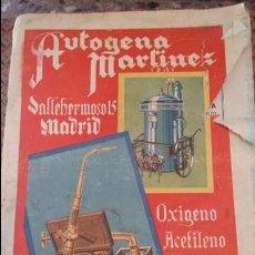 Catálogos publicitarios: CATALOGO PUBLICITARIO AUTOGENA MARTINEZ. VALLEHERMOSO MADRID. VER FOTOS.. Lote 88420728