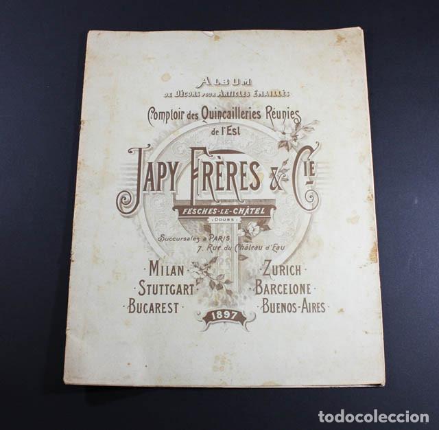 PRECIOSO Y MUY RARO CATALOGO ALBUM DECORACIONES PARA ARTICULOS ESMALTADOS, JAPY FRERES 1897, RELOJ (Coleccionismo - Catálogos Publicitarios)