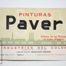 Catálogos publicitarios: CATÁLOGO PUBLICITARIO / MUESTRARIO- PINTURAS PAVER. PINTURAS AL LÁTEX PLÁSTICO -HOSPITALET LLOBREGAT. Lote 90959105