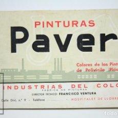 Catálogos publicitarios: CATÁLOGO PUBLICITARIO / MUESTRARIO- PINTURAS PAVER. POLIVINILO PLÁSTICO -HOSPITALET LLOBREGAT. Lote 90959395