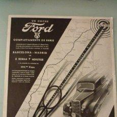Catálogos publicitarios: FORD V8 RECORD VELICIDAD BARCELONA MADRID 25 X 34 CM. ORIGINAL, AÑO 36. FEBRERO. Lote 91621280