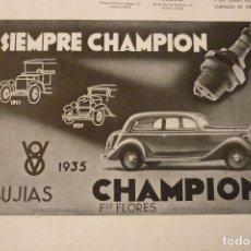Catálogos publicitarios: BUJIAS CHAMPION 25 X 17 CM. ORIGINAL, AÑOS 30. Lote 91621995