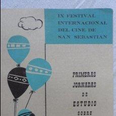 Catálogos publicitarios: IX FESTIVAL CINE SAN SEBASTIAN.JORNADAS ESTUDIO CINE MENORES.1961.CUPON.PROGRAMA.. Lote 91763175