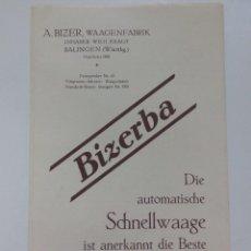 Catálogos publicitarios: CATÁLOGO DESPLEGABLE CON PUBLICIDAD DE BÁSCULAS BIZERBA STUTTGART AÑOS 20. Lote 95140655