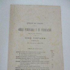 Catálogos publicitarios: EXTRACTO DEL CATÁLOGO DE LAS OBRAS PUBLICADAS - CASA EDITORIAL JOSÉ ESPASA - FINALES S. XIX. Lote 96053295