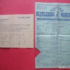 Catálogos publicitarios: DESTILERIAS MANCHEGAS.-FABRICA DE ANISADOS,LICORES Y JARABE.-HERMANOS LOPEZ MARTINEZ.-ANIS.-ALBACETE. Lote 96966635