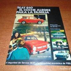 Catálogos publicitarios: PUBLICIDAD EN PRENSA AÑOS 60: SEAT 850. Lote 97645155